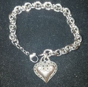 Sterling silver and marcasite heart charm bracelet